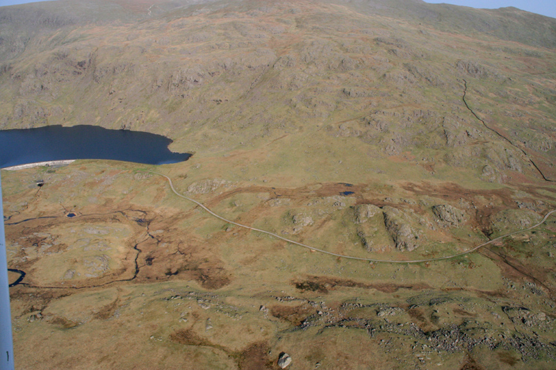 Aerial image - Seathwaite Tarn and Dam road